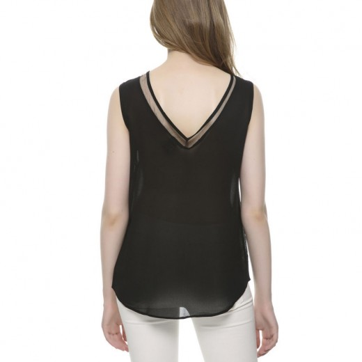 V-neck Sleeveless Black Top