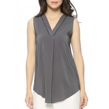 'Lucille' V neck Blouse in Grey