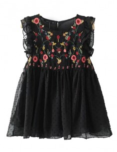 'Eva' Floral Pleated Black Top