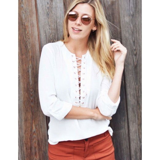 Deep Lace Up Front Blouse Shirt