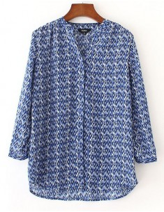 'Shonagh' Patterned Blue Shirt