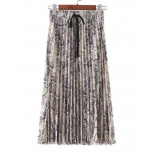 'Gaia' Pleated Skirt in Snake Print