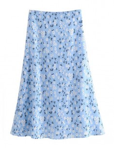 'Chelsea' Floral Pattern Blue Skirt