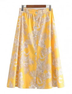 'Grace' Yellow Floral Midi Skirt