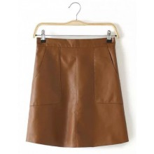 Faux Leather Pockets Skirt