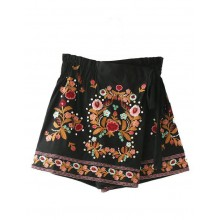 Floral Embroidered Wrap Skirt Shorts