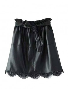 'Elly' Lace Hem Black Mini Skirt