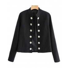 'Ashlyn' Elegant Black Buttons Jacket