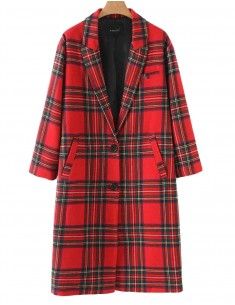 'Jasmine' Stylish Coat in Plaid