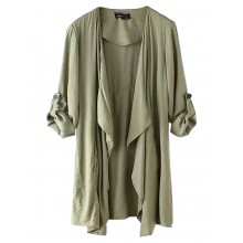 Open Front Draped Trench Coat
