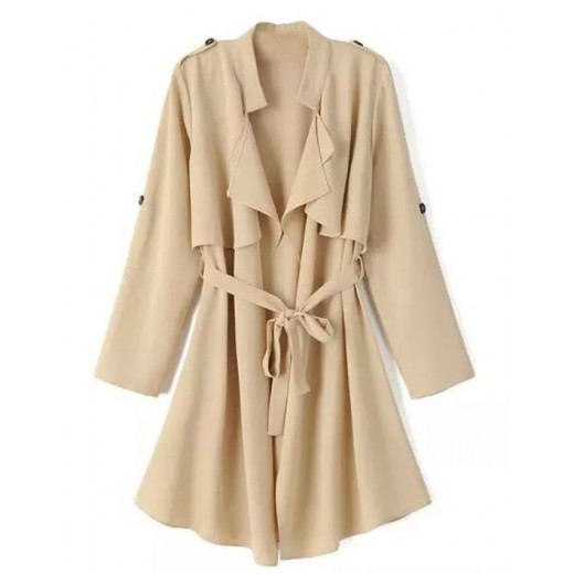 Fashion Tie-Waist Epaulet Coat