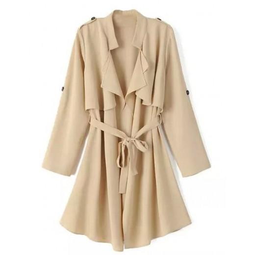 Fashion Tie-Waist Epaulet Coat