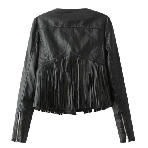 Black Fringed Crop Zippers Jacket