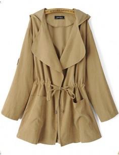 Tab Roll Sleeve Khaki Trench Coat