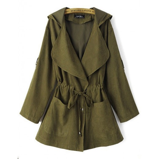 Tab Roll Sleeve Green Trench Coat