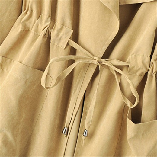 Tab Roll Sleeve Hooded Trench Coat
