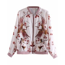 Birds & Floral Printed Bomber