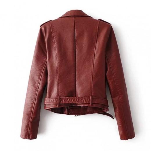 Burgundy Zippers PU Moto Jacket