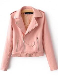 Light Pink Zippers Moto Jacket
