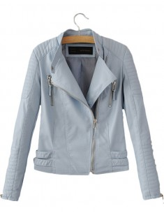 Pastel Faux Leather Biker Jacket
