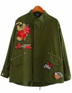 'Gerda' Green Patches Jacket