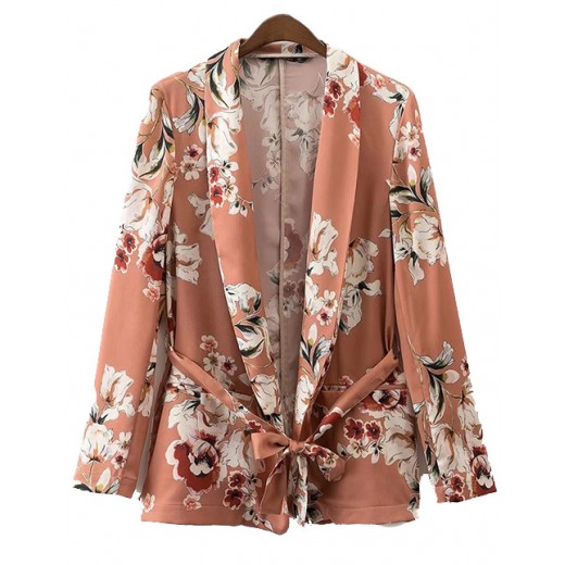 Open Front Blazer in Floral Print