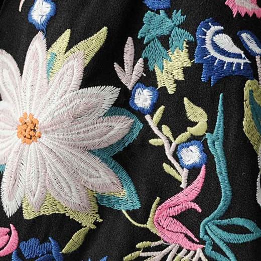 'Luz' Floral Embroidered Black Jacket