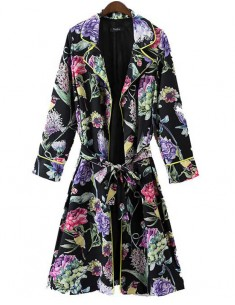 'Melody' Birds & Floral Trench Coat