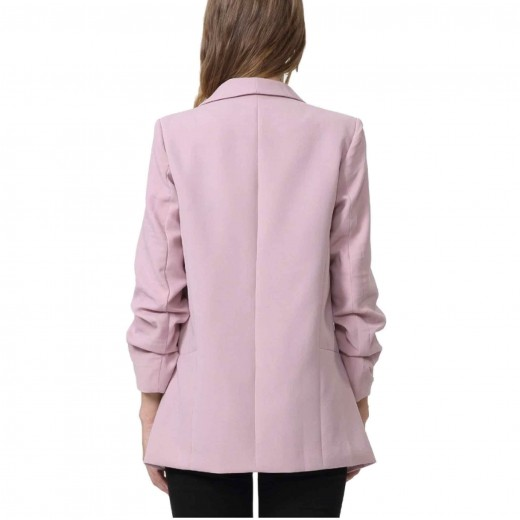 Gathered Sleeve Pink Blazer