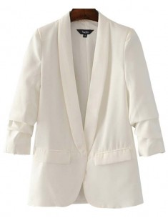 Gathered Sleeve White Blazer