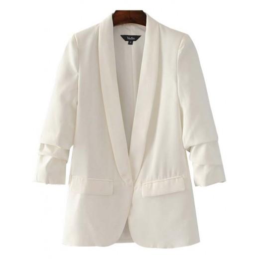 Gathered Sleeve White Blazer