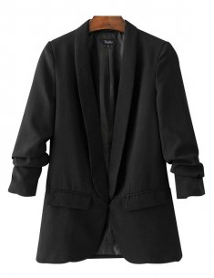 Gathered Sleeve Black Blazer