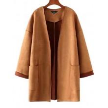 'Gwyneth' Side Pockets Suede Coat