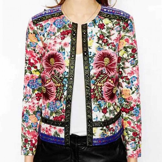 Floral Print Embroidered Slim Jacket
