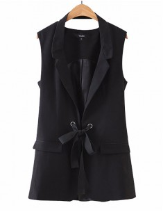 'Rochelle' Black Vest Jacket