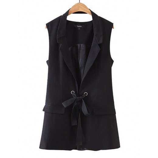 'Rochelle' Black Vest Jacket