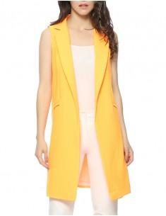 Stand Collar Orange Vest Jacket