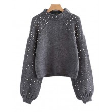 'Aubree' Beaded Cropped Gray Sweater