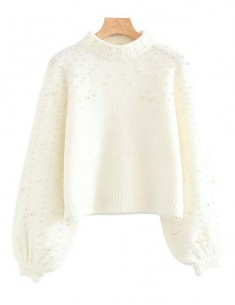 'Aubree' Beaded Cropped White Sweater