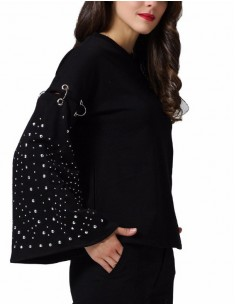 'Kiara' Studded Black Sweatshirt