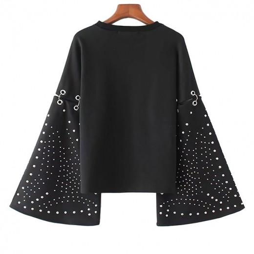 'Kiara' Studded Black Sweatshirt