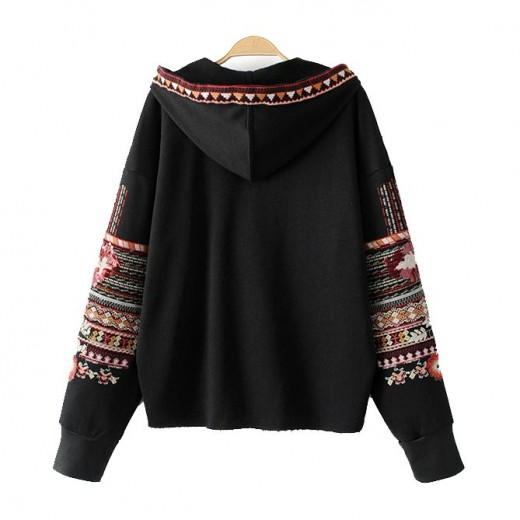 Embroidered Tassel Hooded Sweater