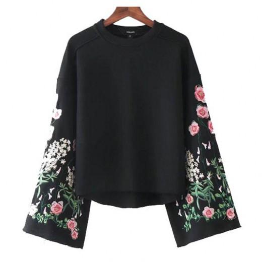 'Janet' Floral Flare Sleeve Sweatshirt