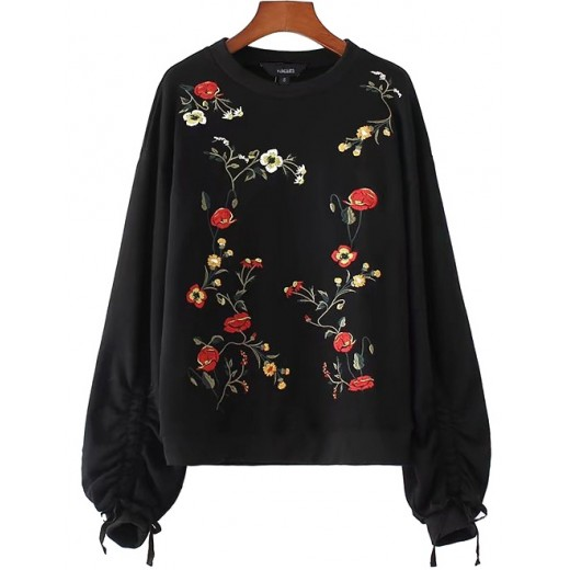 'Alison' Black Floral Pullover Sweater