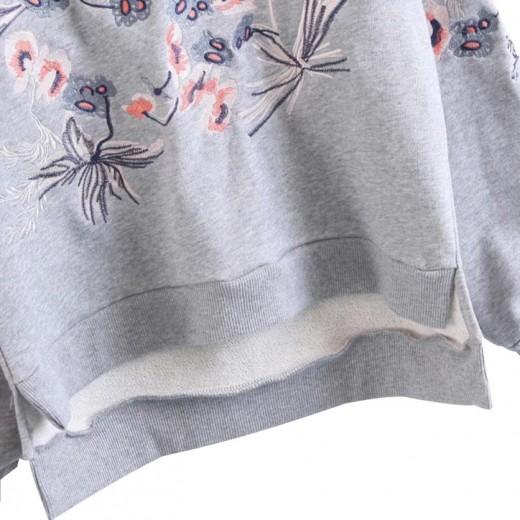 'Judy' Light Grey Floral Pullover