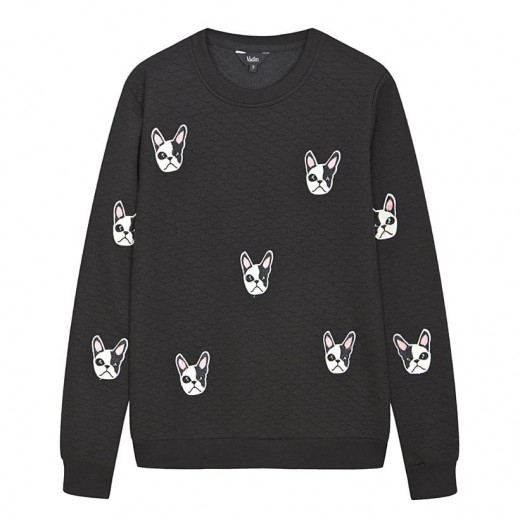 Dog Print Slim Quilted Sweatshirt