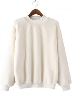 Faux Fur Soft White Sweater