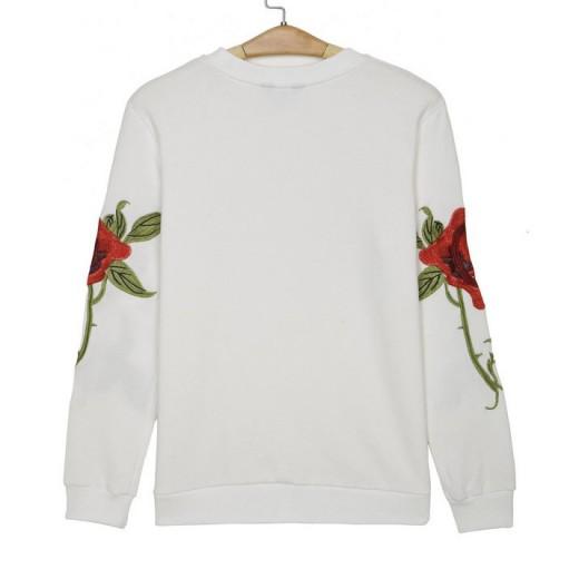 'Kayla' Floral White Sweatshirt