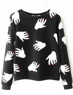 Hands Print Cool Black Sweatshirt