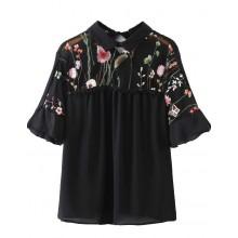 Floral Mesh Insert Sheer Shirt